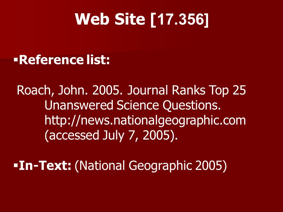 Web Site [17.356] Reference list: